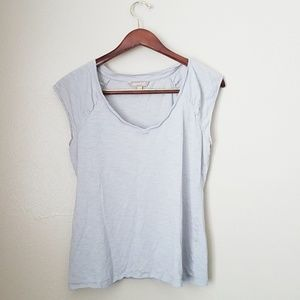 Light Gray Banana Republic Rounded V Neck Top